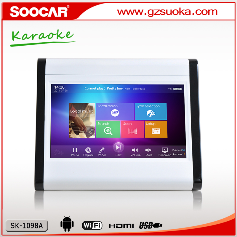 China manufacturer mini android karaoke player with wifi 10 inch touchscreen