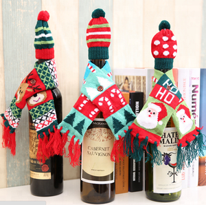 Christmas decorations cute kniitted scarf hat decorative christmas wine bottle cover