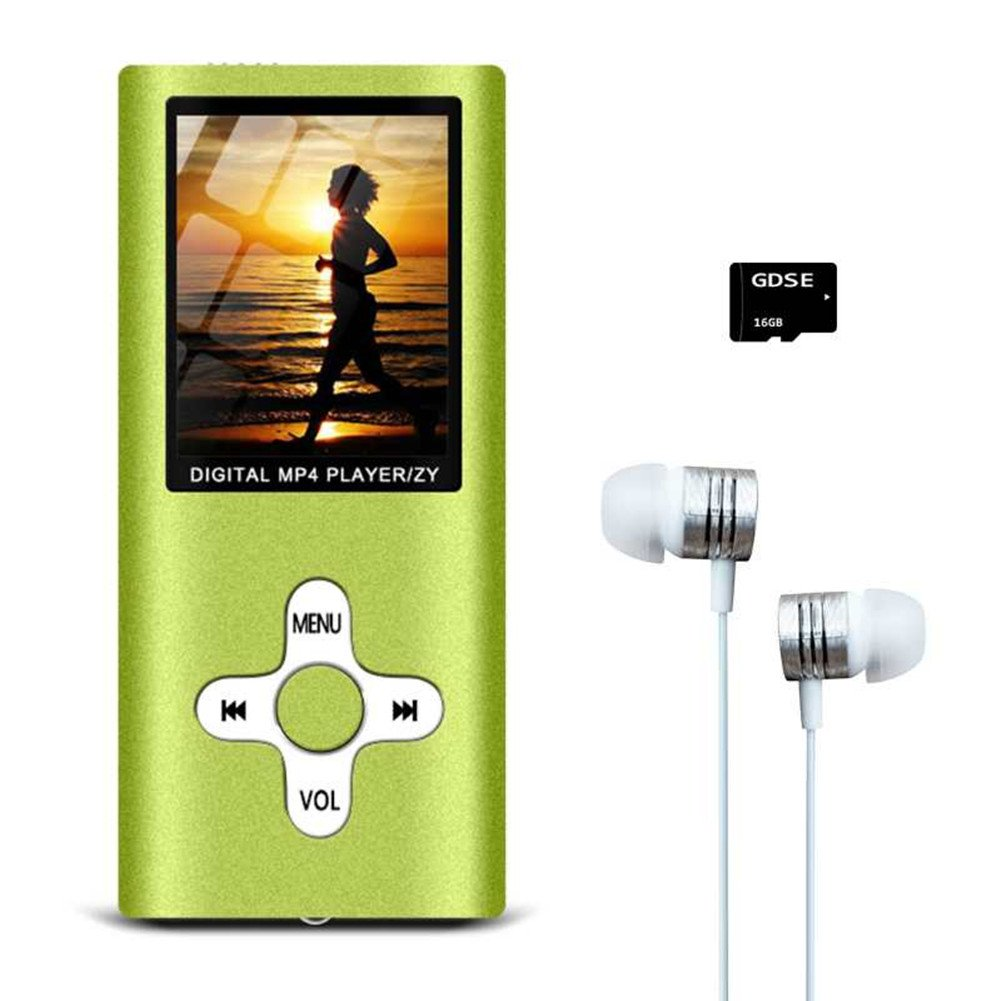 MP3/MP4 Music Player,Hey-Elecs Compact and Portable MP3 Music Player with FM Radio/Video Player/Voice Recorder/E-Book Reader,Including a 16GB Micro SD Card,Ultra Slim 1.8in LCD Screen - (Green)