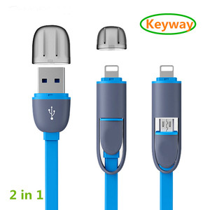 New design Micro usb + 8pin USB 2 in 1 Sync Data Transfer cable for Samsung Galaxy Note 5 S6 S7 S8 edge j1 j3 j5 j7