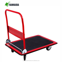 Flatbed Pushcart Foldable Silent Wheel Trolley 150kg Hand Truck Luggage Carts