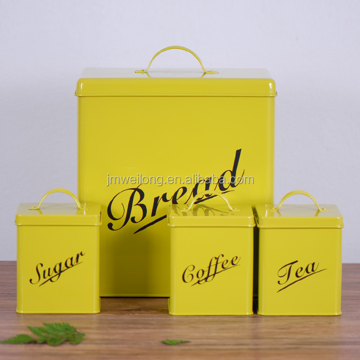 Fda Kitchen Square Yellow Bread Box Coffee Tea Sugar Tin Pot Metal Storage  Canisters - Buy Bread Box,Metal Storage Canister,Kitchen Canister Set ...