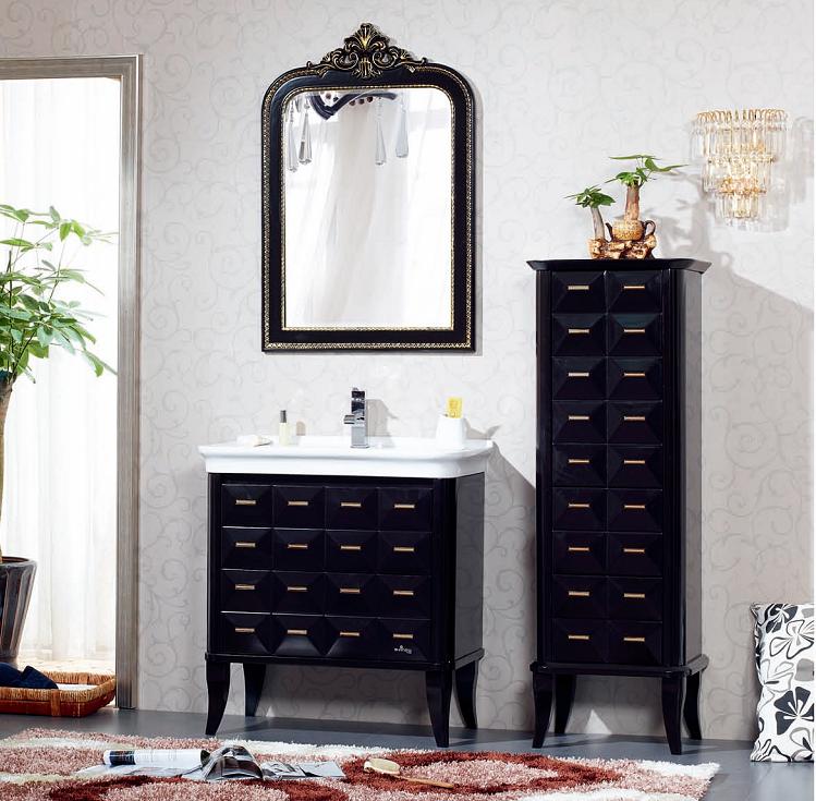 solid wood bathroom vanity cabinet set with single basin