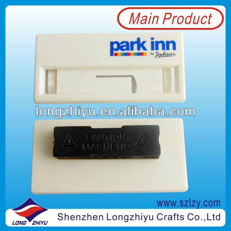 2013 High Quality Custom White Plastic Magnetic Name Badge,Cheap Custom Plastic Name Plate With Safety Pin Wholesale
