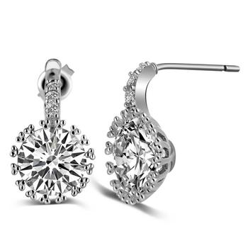 fashion earring Multi Prongs Synthetic Diamond Stud Earrings White Gold Plated with Round CZ Stone Lady's Piercing Earrings