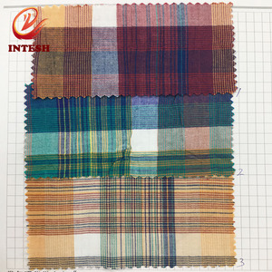 Stock cotton woven shirt yarn dyed check fabric