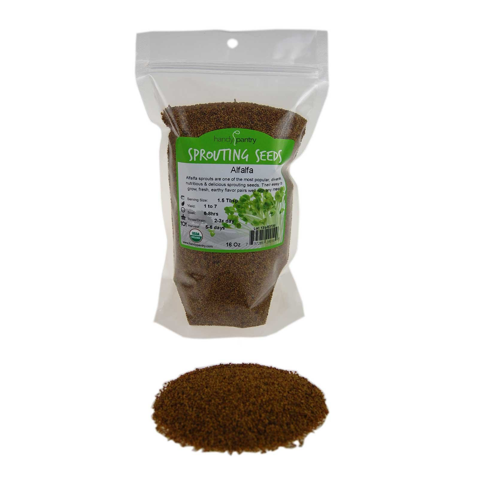 Organic Alfalfa Sprouting Seeds - 1 Lbs - Resealable Bag - Handy Pantry Brand - Growing Sprouts, Food Storage & More