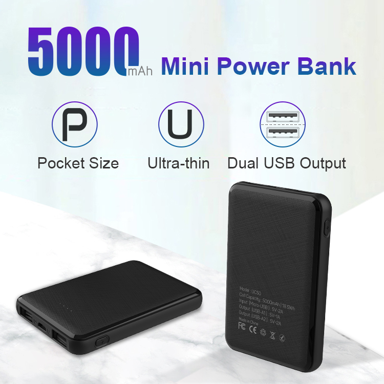 Super Flat Portable Ultra Slim Pocket Small 5000 mAh Phone Battery Charger Mini Power Bank 5000mAh