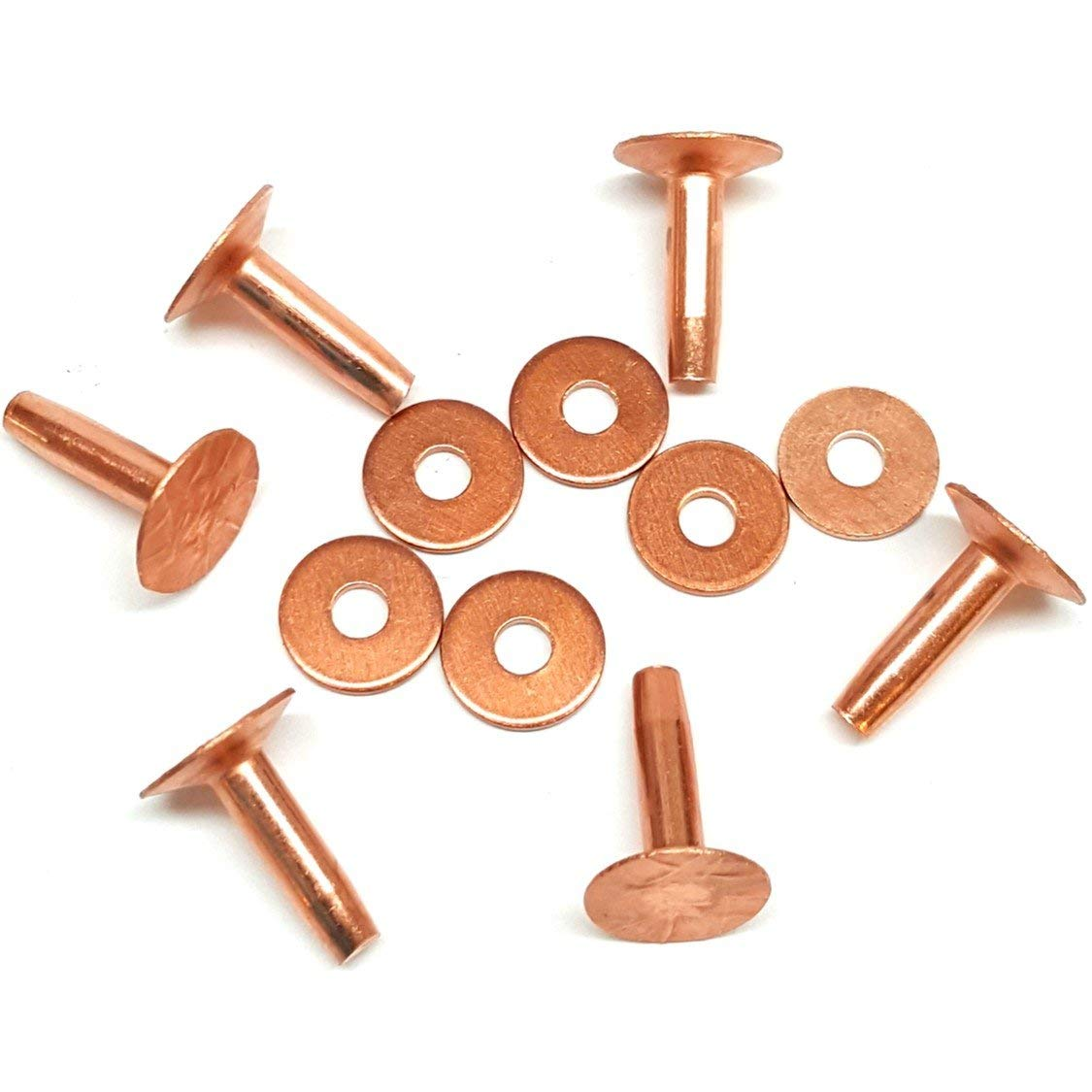uxcell 50 Pcs 5//32inch X 13//64inch Round Head Copper Solid Rivets Fasteners Fastener