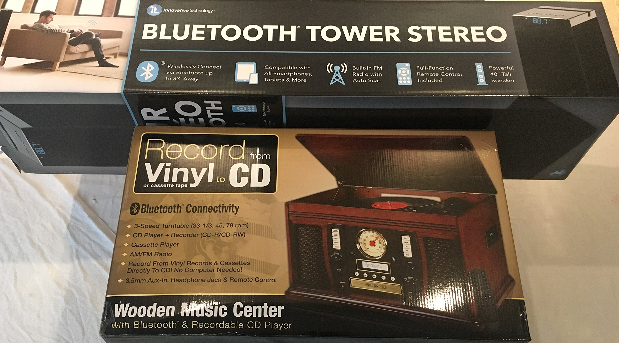Bundle Pack - Victrola Nostalgic Aviator Wood 7-in-1 Bluetooth Turntable Entertainment Center, Mahogany - ITSB-300-BLK 40-in Tall Tower Bluetooth Stereo System