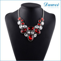 New Fashion Women Gem Crystal Necklaces with Ruby Choker Necklace