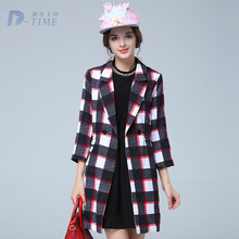 ON SALE 2015 plus size women plaid long coat three quarters sleeves A line trench coat