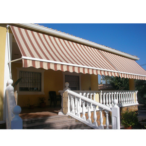 outdoor aluminum retractable stripe fabric awnings