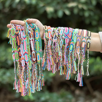 More Than 30 Kinds Colors Cotton Handmade Woven Bracelet Customized Oem Braided Colorful Friendship