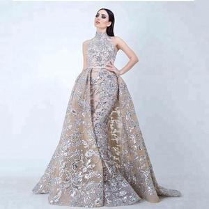 3e147d0922 Sequined Appliques Mermaid Overskirt Evening Dresses 2018 Dubai Arabic High  Neck Plus Size Occasion Prom Party Dress