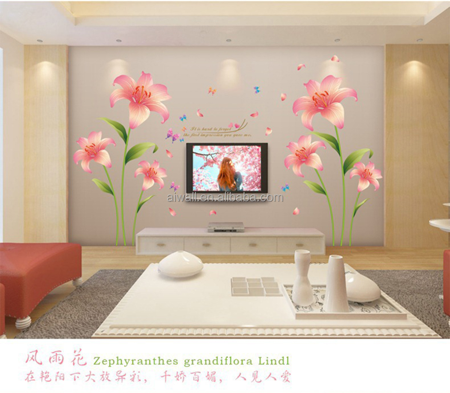 XL8135 Pink Lily Wall Stickers Romantic Wall Decals /murals Flowers Wall Art for Home Decor