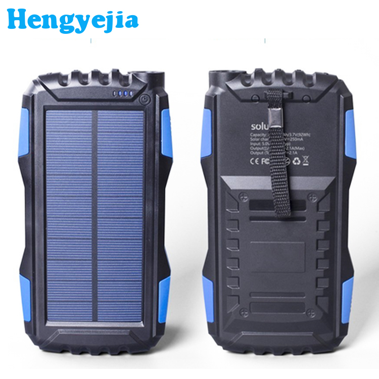 2018 Private Label Produk Ganda Usb Portable Rohs Waterproof Solar Power Bank Cepat Pengisian 20000mah Power Bank dengan Led