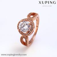 High quality rose gold color blue zircon ring