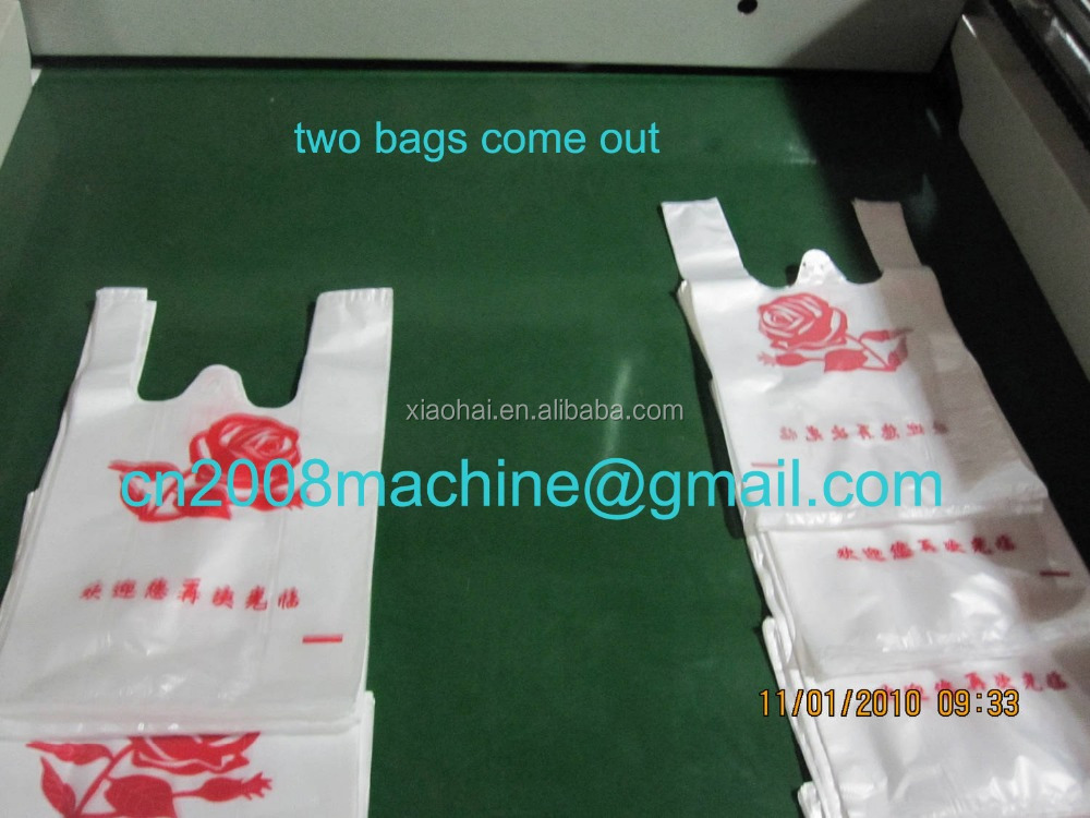 HAS VIDEO Computer double lines full automatic T shirt plastic bag making machine For HDPE,LDPE printed or white black bag