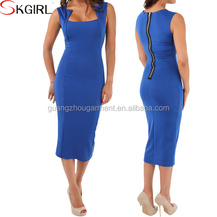 2017 cheap wholesale women wear square neck Knee length plus size ...