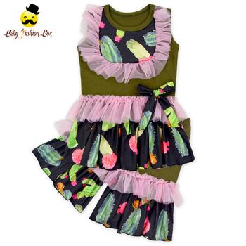 66tqz642 2 2018 Girl Cactus Summer Ruffle Outfit Custom Design Baby