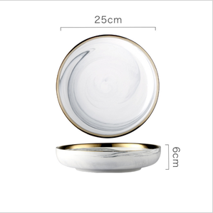 Gold Rim Marble Pattern 10 Inch Ceramic Dinner Deep Plate