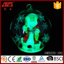 led clear christmas ornaments santa claus glass ball