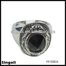 Black Stone Ring For Men Stainless Steel Ring Fashion Jewelry