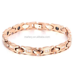 18K Rose Gold Plated Stainless Steel Ladies Korea Magnetic Bracelet, Magnetic Hematite Jewelry Wholesale