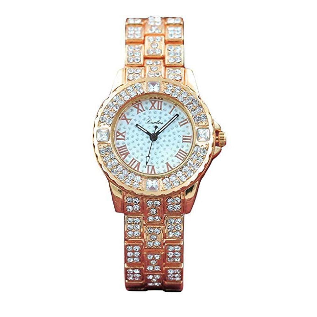 Womens Watches,Windoson Women's Ladies Teen Girls Fashion Luxury Dress Wrist Quartz Watch with Stainless Steel Band Full Diamond Analog Quartz Watches Classic Wristwatch (Rose Gold)