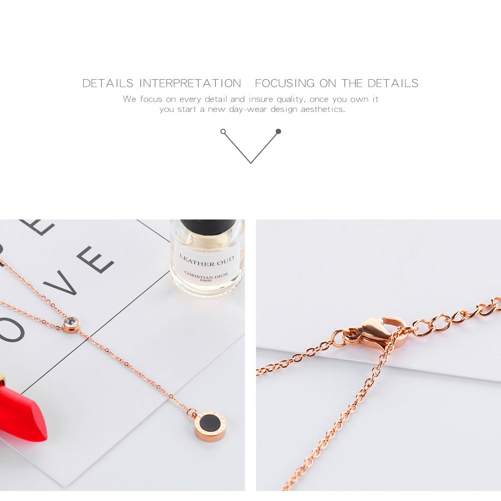 Fashion Jewellery Crystal Rose Gold Stainless Steel Long Women Necklace