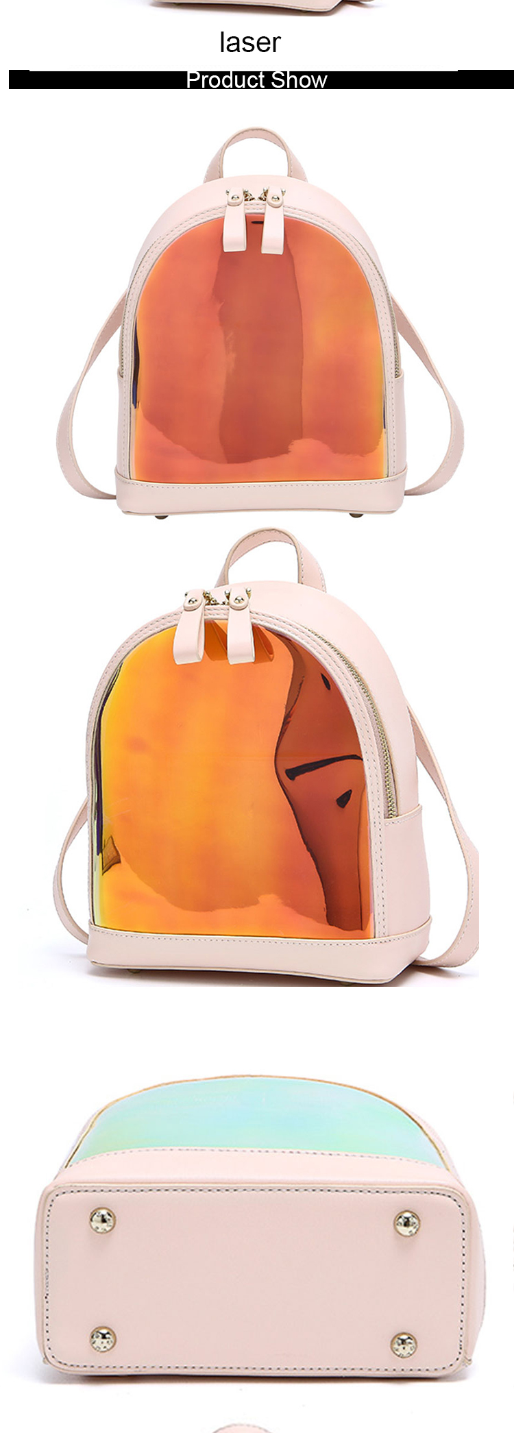 oem summer stylish laser color pvc cute small back packs mini school backpacks for ladies