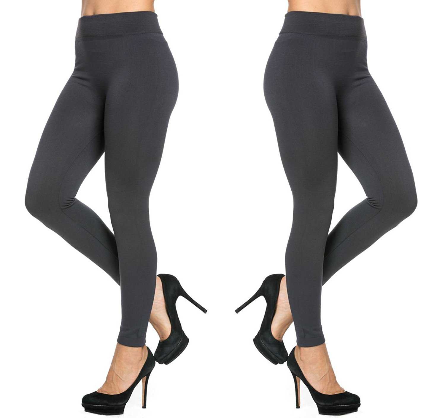 f24b3d5c069a0 2 Pack of Women's Fleece Lined Brushed Thermal Leggings Cold Winter Thick  Black Tight Pants