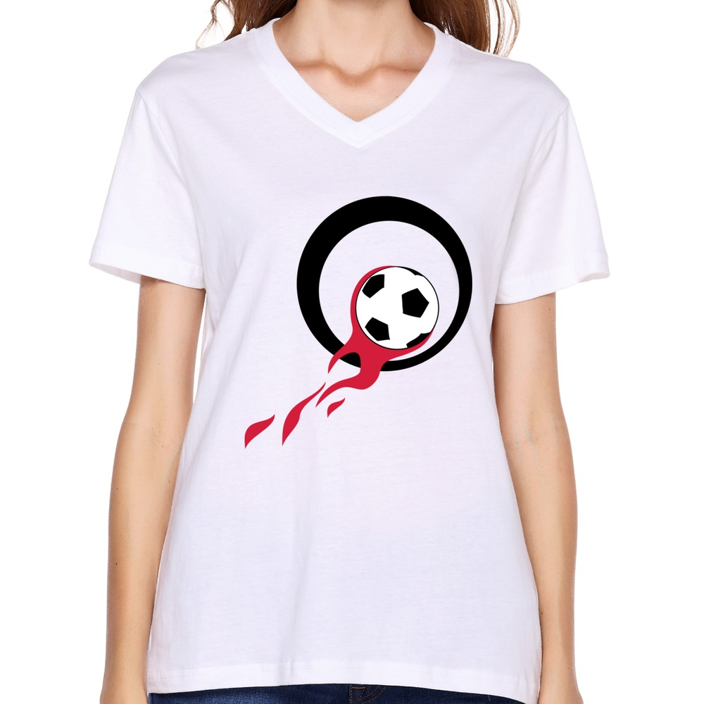 Get Quotations · Creat Style unique women s shirts geek soccer flames logo  t shirts sport women s 4f38daaa7