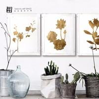 Flower vintage painting gold foil printing indian metal wall art