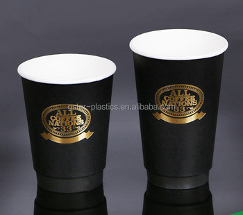 e0237a9d438 12oz 16oz 8ozHollow Double Wall Paper Cups Black Paper Coffee Cups Hot  Stamping