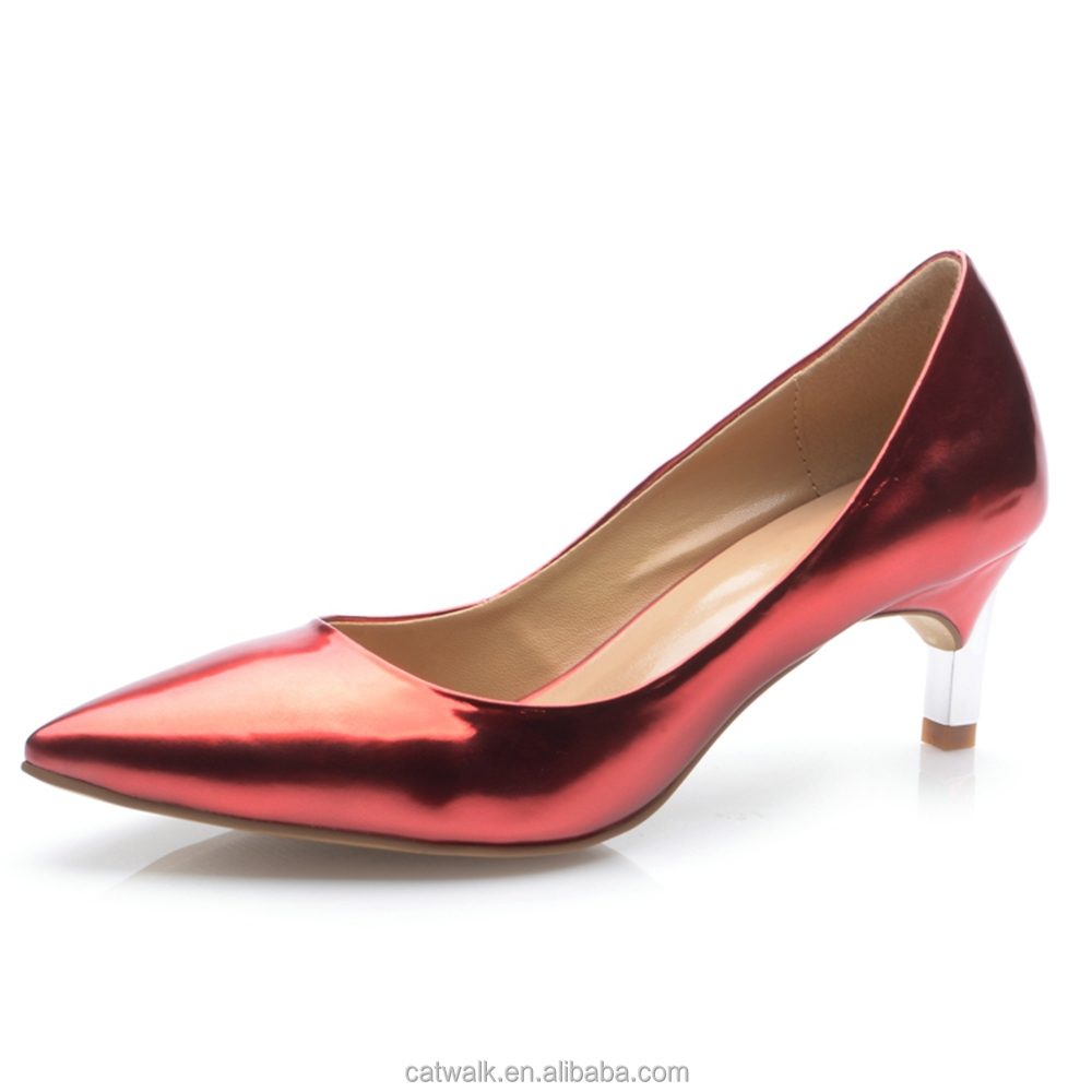 Comfortable Lady Shoes Red Women Low Heel Pumps Shoes Classy Sexy
