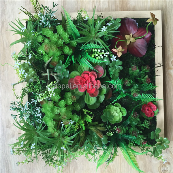 DIY Real Touch Plastic Frame Plant Artificial Living Wall With Succulents