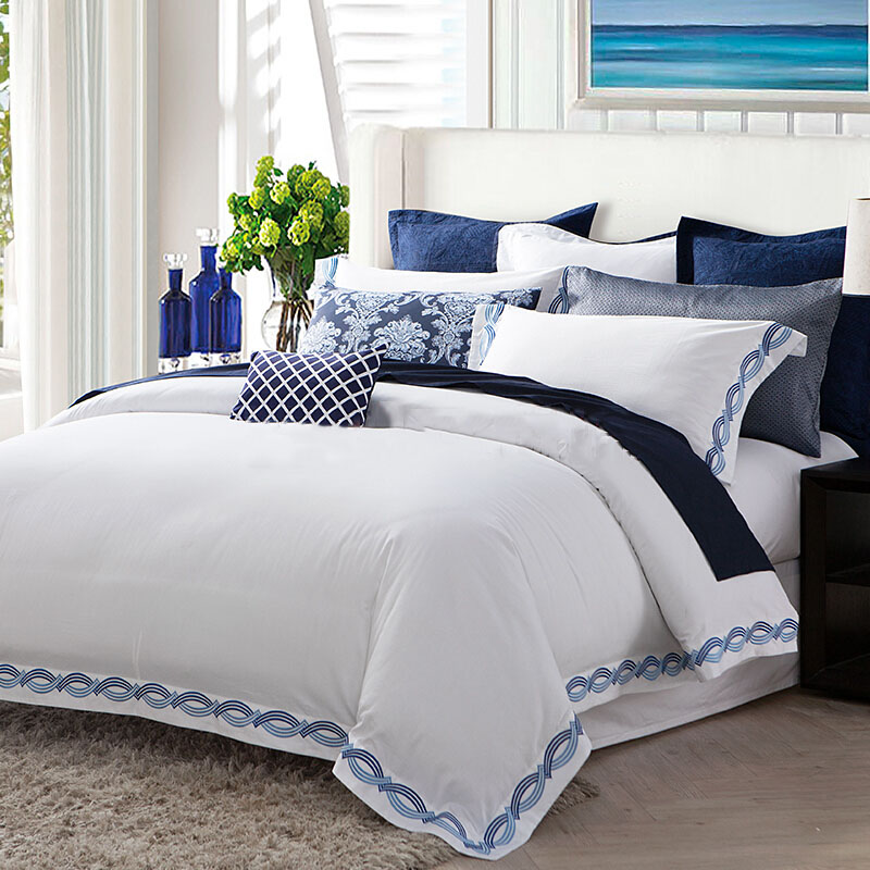 factory price 100% cotton 250TC plain white cotton bedding set with embroidery in different sizes
