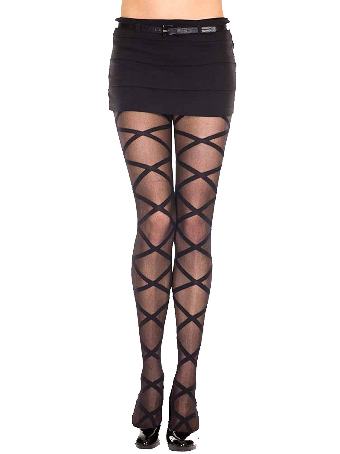 ca568839149b8 Buy Luxury Divas Black Spandex Sheer Tights With Woven Floral Design ...