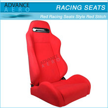 FOR BMW ALL MODELS RED CLOTH RACING SEATS RED STITCH RECLINABLE SLIDER(PAIR)