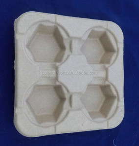 Custom Recyclable Paper Pulp Coffee Cup Holder Tray