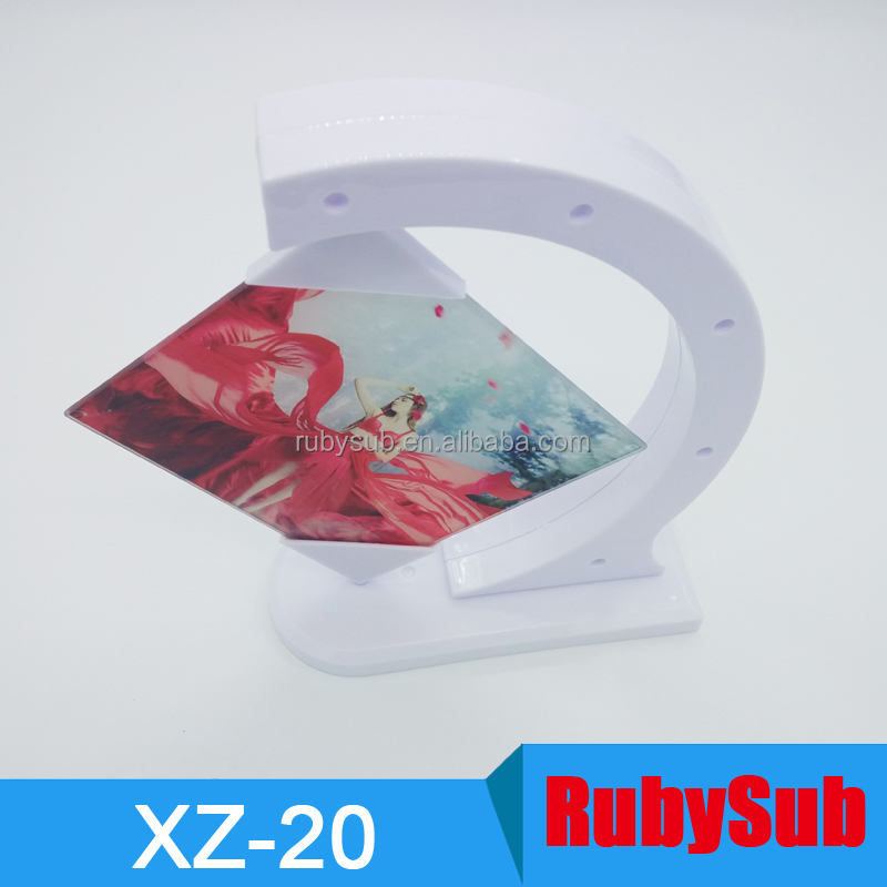 New Design 360 Degree Rotate Glass Photo Frame Sublimation Glass Blank Display Photo Frame in Stock XZ-20