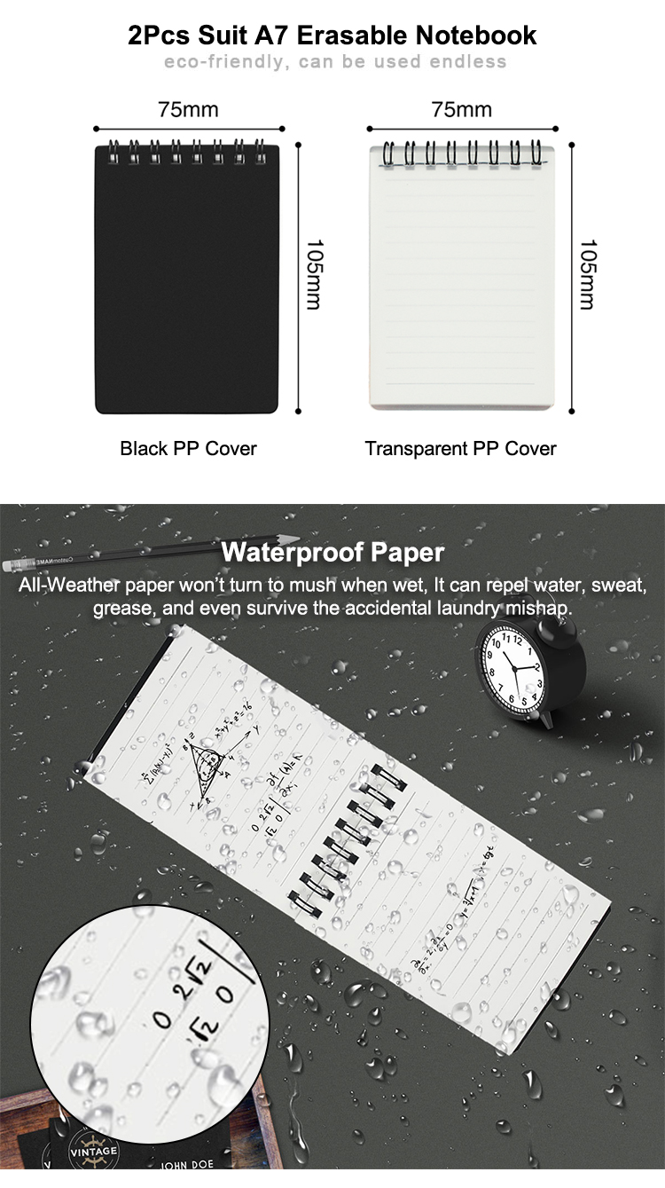 NEWYES A7 Mini Size PP Cover Waterproof Erasable Notepad Smart Memo Reusable Notebook