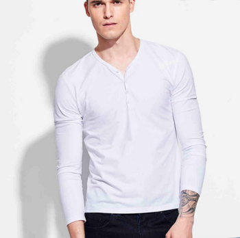 045ced7de new style men's white solid color V-neck stylish collar cardigan half-collar  long