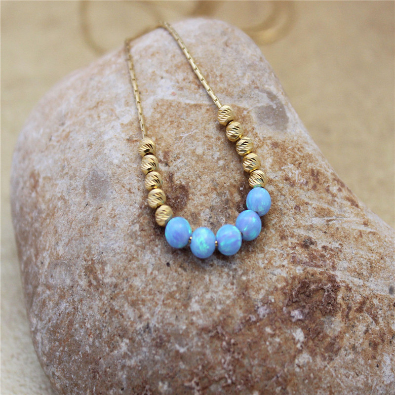 Bead ball light blue opal necklace 14K gold filled chain, gemstone jewelry