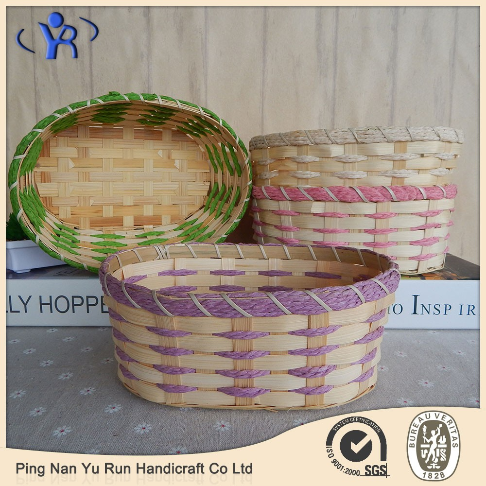 Handmade Basket Companies : China countryside handmade colorful bamboo storage basket