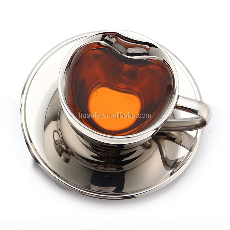 Best selling high quality double wall stainless steel cup heart shape coffee cup and saucer for Valentine's Day present