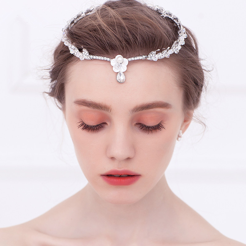 Shell Flower Forehead Tiara Headband Pearl Head Chain Hair Jewelry Rhinestone Tiaras And Crowns Wedding Hair Accessorie WIGO0602