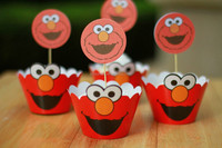 Lovely elmo cupcake wrappers & toppers birthday party decoration wedding gifts favors
